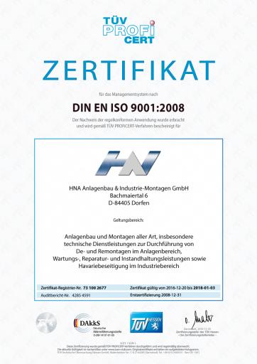 ISO9001-Zertifikat, deutsch